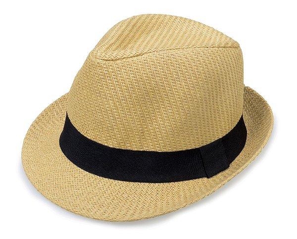 Chapéu Fedora Aba Curta Palha Bege Faixa Preta