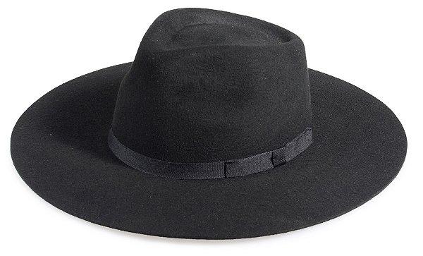 Chapéu Fedora Preto 100% Lã Aba Grande 10cm Premium Hats