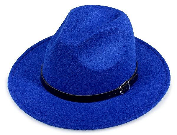 Chapéu Fedora Azul Feltro Aba Media 7cm