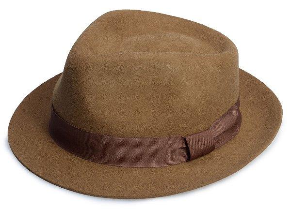Chapéu Fedora Marrom 100% Lã Aba curta 4cm Premium Hats
