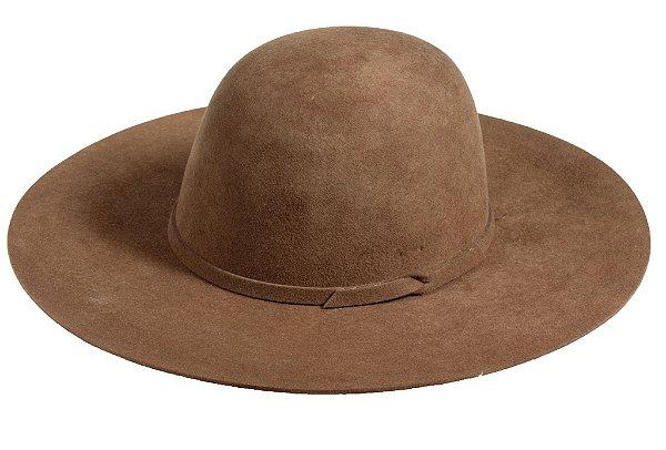 Chapéu Floppy Marrom 100% Lã Aba 10cm Premium Hats