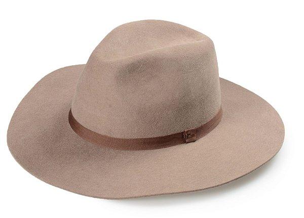 Chapéu Fedora Caqui 100% Lã Aba 8 cm Premium Hats