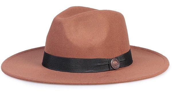 Chapéu Fedora Caramelo Faixa Preta Aba Reta 8cm
