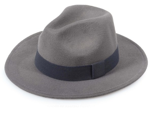 Chapéu Fedora Cinza Chumbo Aba 7cm