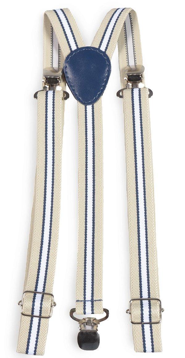 Suspensório Unissex Listrado  Bege, Azul e Branco 2,0cm