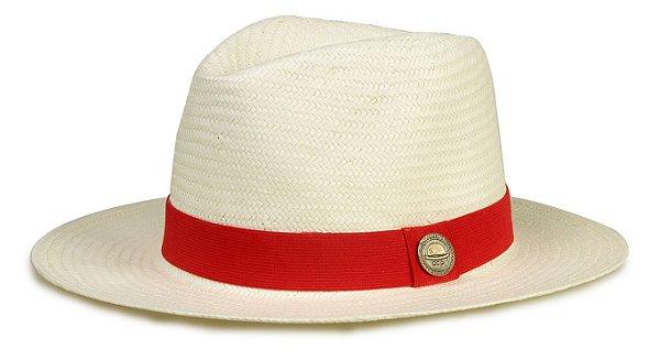 Chapéu Estilo Panamá Shantung  Aba Média 7cm Faixa Vermelha