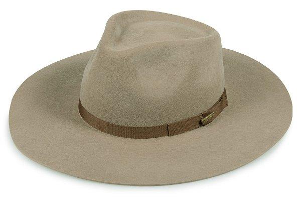 Chapéu Fedora Caqui 100% Lã Aba 10cm Premium Hats