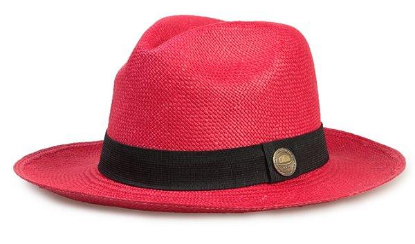 Chapéu Panamá Colorido Vermelho Aba Média Palha Toquilla