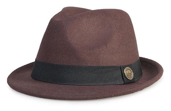 Chapéu Fedora Marrom Aba Curta 4cm