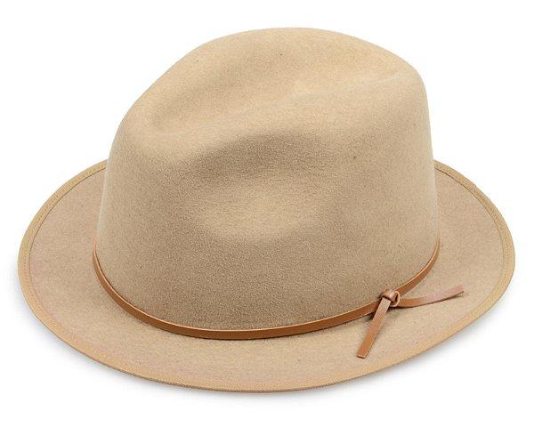 Chapéu Fedora Bege 100% Lã Aba 4cm Couro Caramelo Premium Hats