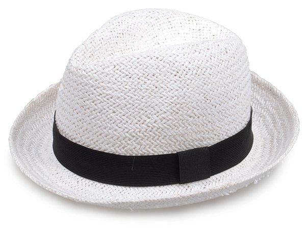 Chapéu Fedora Aba Curta Palha Branca Tradicional