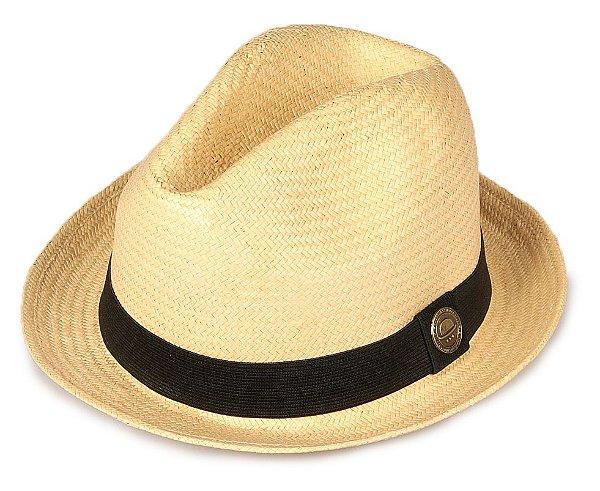 Chapéu Fedora Palha Bege Escuro Aba Curta 4 cm Tradicional