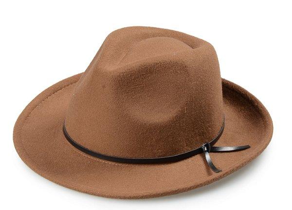 Chapéu Fedora Caramelo Custom Couro Marrom
