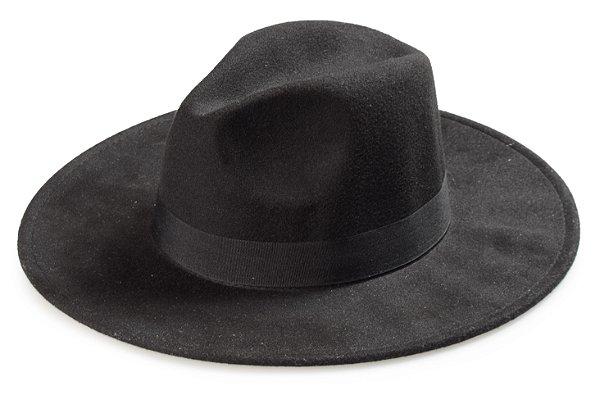 Chapéu Fedora Preto Aba Grande Reta 9cm