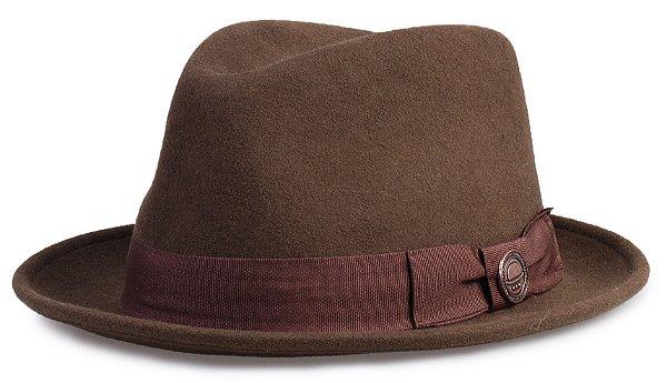 Chapéu Fedora Marrom 100% Lã Aba 4cm Premium Hats