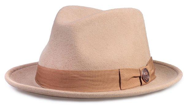 Chapéu Fedora Bege 100% Lã Aba 4cm Premium Hats