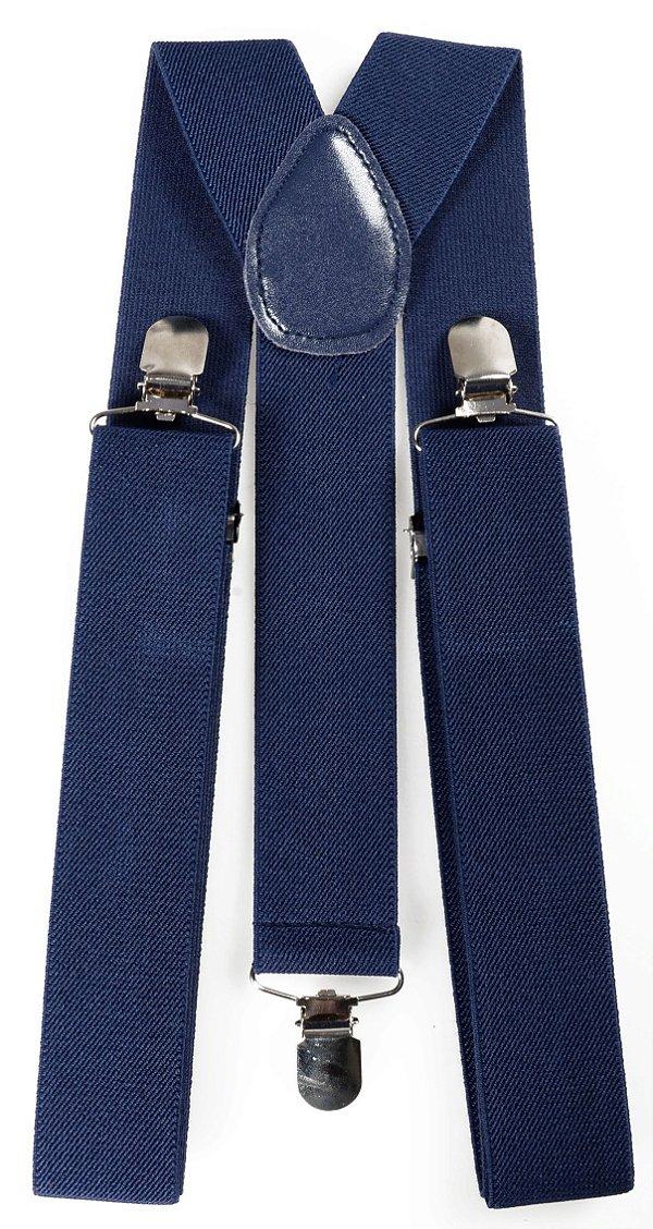 Suspensório Azul marinho Largo Couro Azul 3,5cm