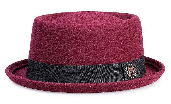 Chapéu Pork Pie Vinho 100% Lã Aba 3,5cm Curva Premium Hats