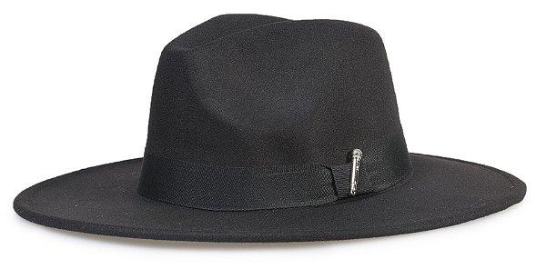 Chapéu Fedora Preto Aba 8cm Custom Microfone Prata