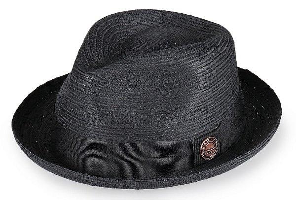 Chapéu Fedora Palha Preto Aba Curva 4cm