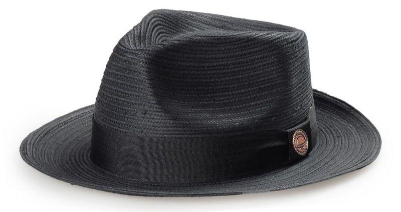 Chapéu Fedora Palha Preta Aba Reta Média 7cm