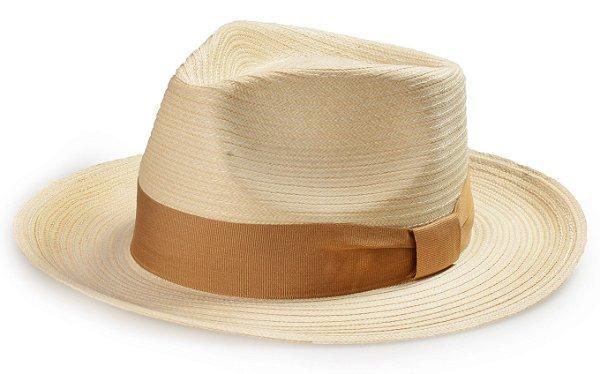 Chapéu Fedora Palha Bege Aba Reta Média 7cm