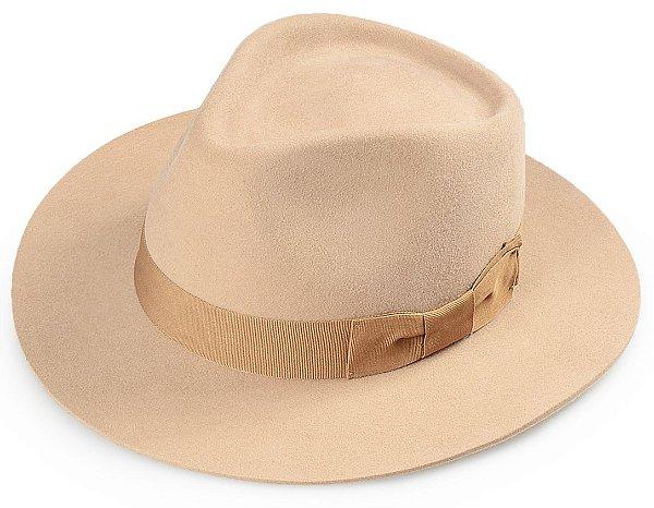 Chapéu Fedora Bege 100% Lã Aba Reta 6,5 cm Premium Hats Laço