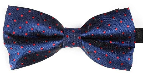 Gravata Borboleta Estampada Azul Marinho bolinhas Vinho