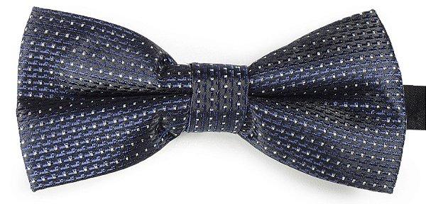 Gravata Borboleta Estampada Azul Marinho linhas preto e branco