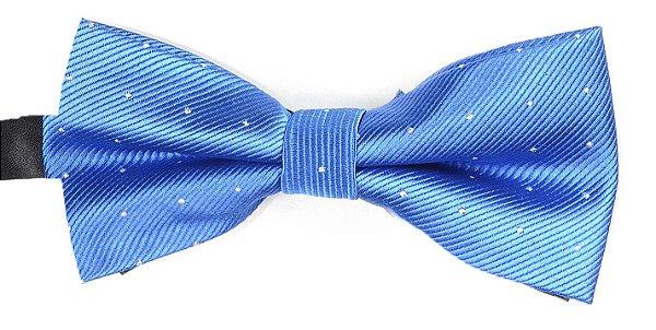 Gravata Borboleta Estampada Azul Pontos Prata