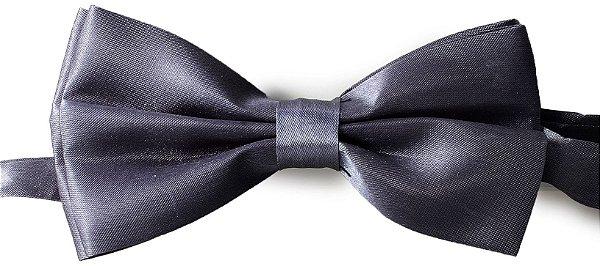 Gravata Borboleta Lisa Cinza Escuro