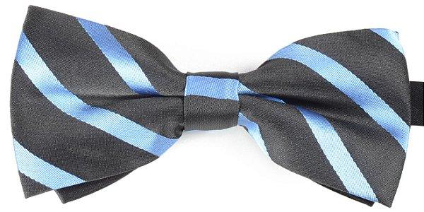 Gravata Borboleta Estampada Listrada Preto e Azul