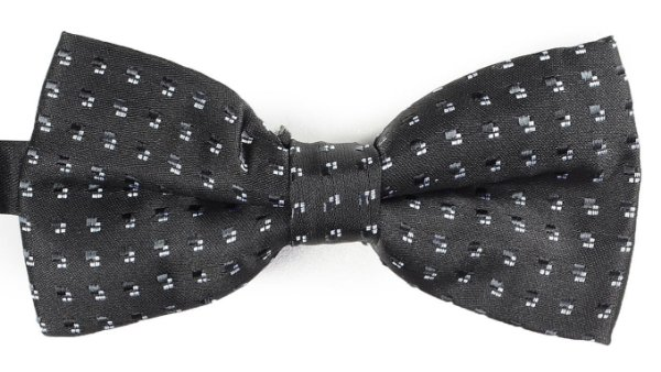 Gravata Borboleta Estampada Preta Quadrados