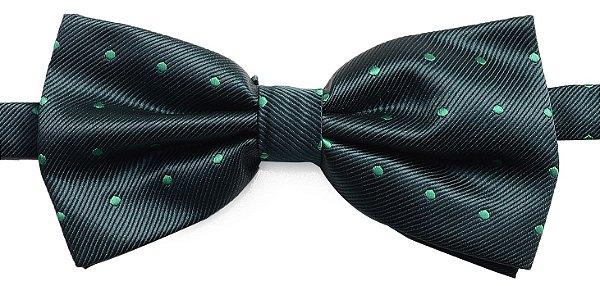 Gravata Borboleta Estampada Verde Bolinha Verde