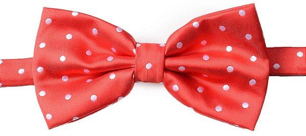 Gravata Borboleta Estampada Vermelha Bolinha Branca