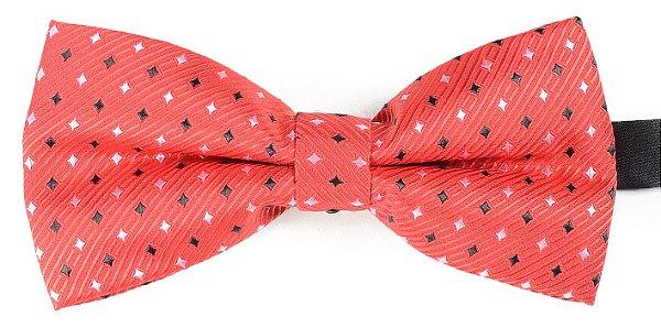 Gravata Borboleta Estampada Vermelha Detalhes Losango Preto e Branco