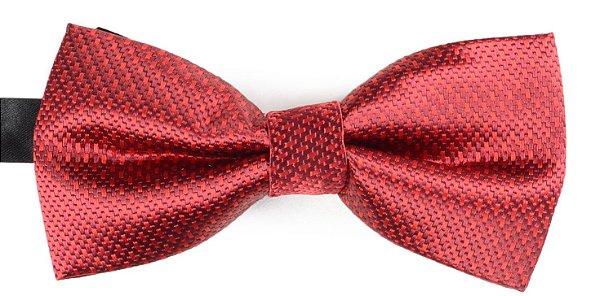 Gravata Borboleta Estampada Vinho Linhas Vermelhas