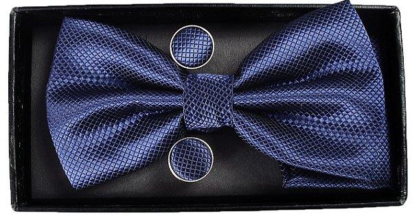 Gravata Borboleta Azul Marinho Com  Abotoaduras e Lenço