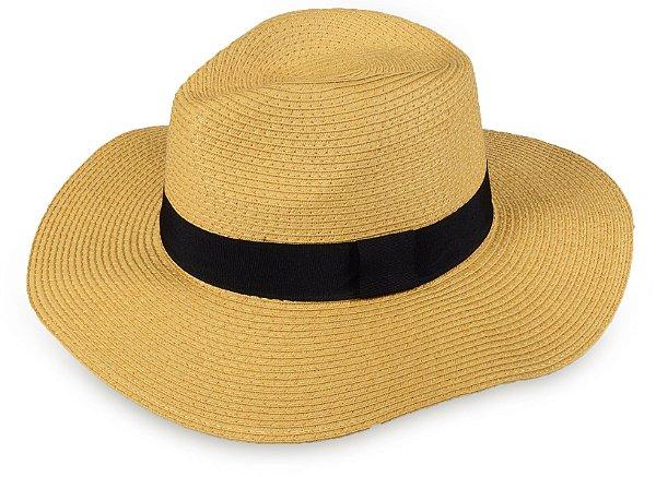 Chapéu Fedora Caramelo Palha Aba Grande Maleável 9cm