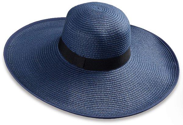 Chapéu Floppy Palha Azul de Praia Aba Grande Maleável 14,5 cm