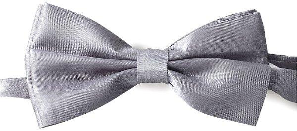 Gravata Borboleta Lisa Cinza (Prata)