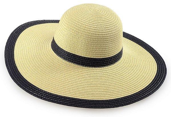 Chapéu de Palha Feminino Bege e Preto Aba Grande Praia