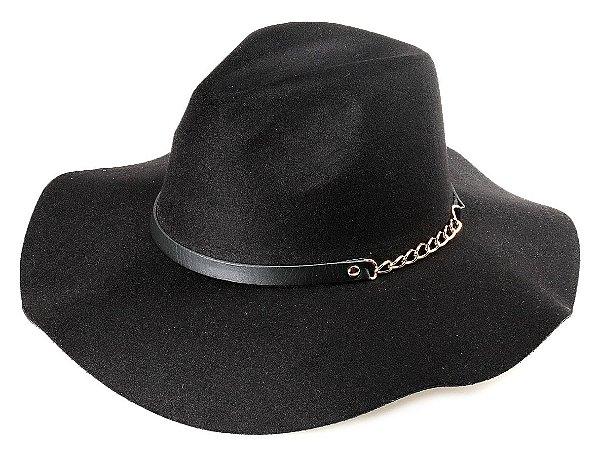 Chapéu Fedora Preto Aba Maleável 9,5 cm Couro e Corrente Dourada