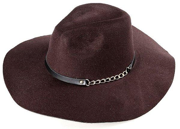 Chapéu Fedora Marrom Aba Maleável 9,5 cm Couro e Corrente Dourada
