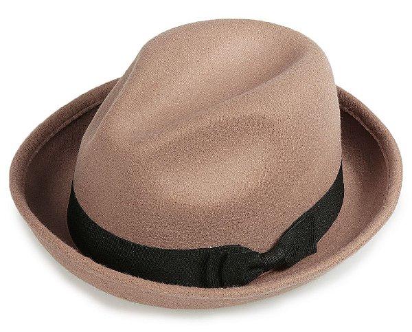 Chapéu Fedora Bege Aba Curvada 5 cm Laço Duplo