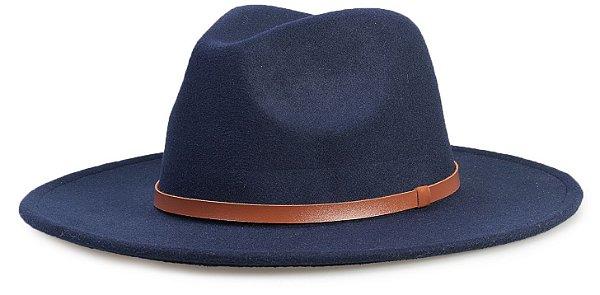 Chapéu Fedora Azul Marinho Aba Média 8cm Couro Caramelo