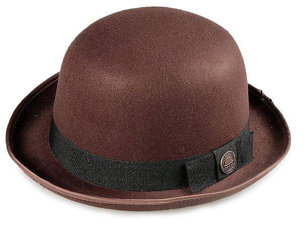Chapéu Coco Bowler Marrom Aba média Curva  5cm