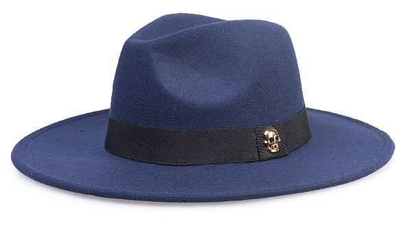 Chapéu Fedora Azul Marinho Aba Média Caveira Dourada