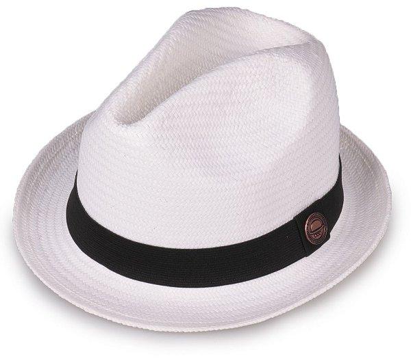 Chapéu Estilo Panamá Shantung Palha Branco Aba Curta 4 cm