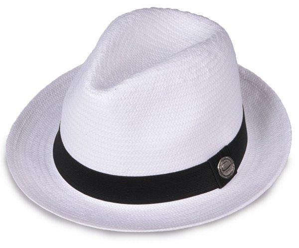 Chapéu Estilo Panamá Shantung Palha Branco Aba media 5 cm